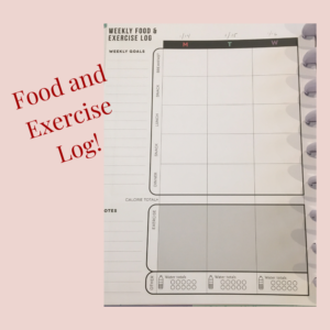 Fitness log for happy planner